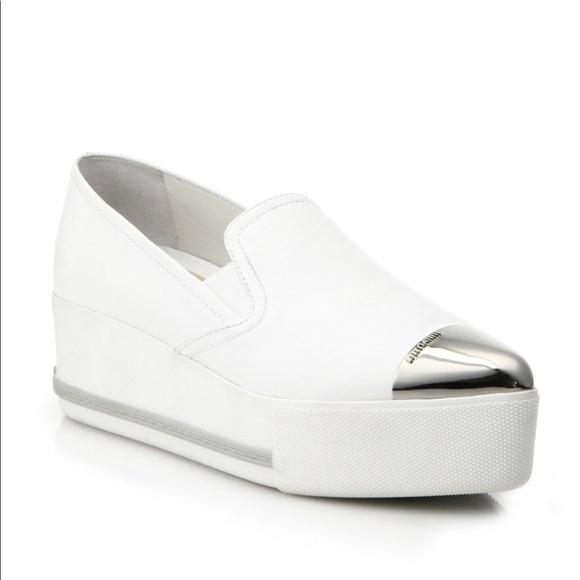 miu miu white platform sneakers